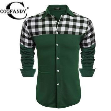 Men  Long Sleeve Plaid Patchwork Button Down Casual Shirts US size S,M,L,XL,XXL,XXXL