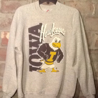 Vintage collectible souvenir 1990 Iowa Hawkeye Sweatshirt. Great retro graphics and colors. Gray Jerzees Large sweatshirt. Made in USA. Hawk