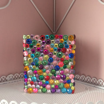 Glass Vase with Multi Color Rhinestones