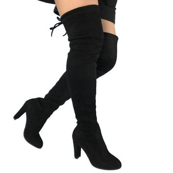 Women Over the Knee Boots High Heels Faux Suede Sexy Party Slim Thigh High Boots Stret