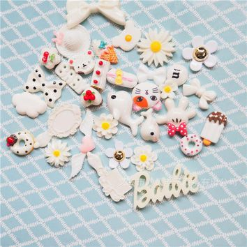 30PCS Mix Lots Resin Flatback Fish Flower Bow Art Album Flatback Scrapbooking Embellishments Diy Scrapbooking Craft Accessory