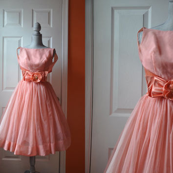 Vintage 1950s dress | organza and satin pink 50s party dress • Darling dress