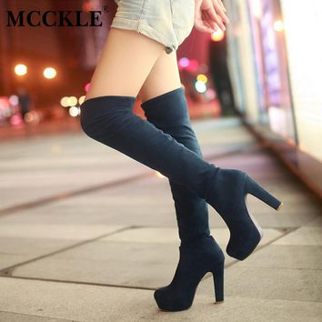 MCCKLE Women High Heels Slip On Over the Knee Sexy Long Boots Female Platform Ankle Patchwork Flock Two Ways Wear Plus Size