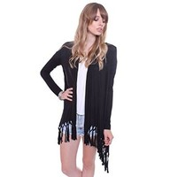 Heart & Hips Women's AY15031 Taupe Hand Made Fringe Cardigan