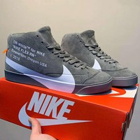 NIKE BLAZER CITY LOW LX x OFF-WHITE Joint men's big hook high-top casual sports shoes