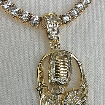 Microphone Headphone Pendant with Necklace (14K Gold Finish)