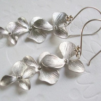 Floral jewelry Dangle earrings Rhodium earrings Fall fashion jewelry Cascading orchids flowers Bridesmaids gifts