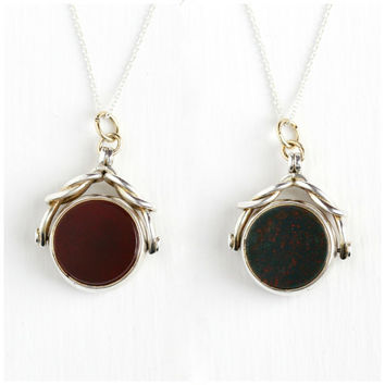 Antique Carnelian & Bloodstone Sterling Silver Double Sided Pendant Necklace - Late 1800s Victorian Spinner Gemstone Fob Charm Jewelry