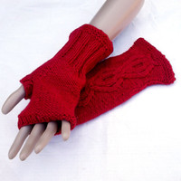 hand knitted red wool arm warmers, knit women fingerless gloves, adult cabled mittens, knitting accessories, women men aran hand warmers