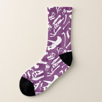 Dinosaur Bones (Purple) Socks