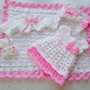 White Baby Outfit Baby Dress Blanket Hat Headband Bolero Shoes in White Pink Crochet Infant Dress Set Christening Baby Set Newborn Clothes