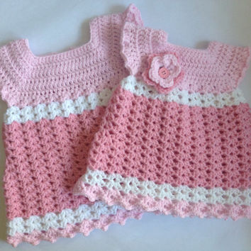 Crochet baby girl dress with Headband PDF Pattern, tutorial PDF dress set file with pics.