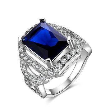 Sapphire Emerald Cut Micro-Pav'e White Gold Cocktail Ring 925 Sterling Silver Unique Casual Rings