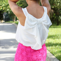 Bow Back Tank - White