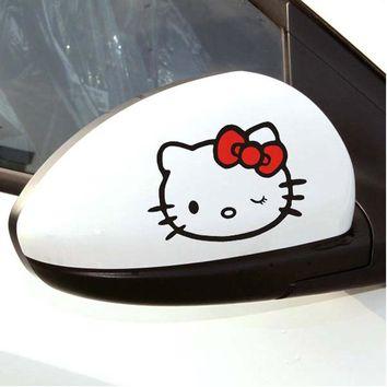 Car Sticker and Decals 2 x Lovely Hello Kitty Car Rearview Mirror Sticker Accessories Motorcycle Sticker 11*8cm[Free Shipping]