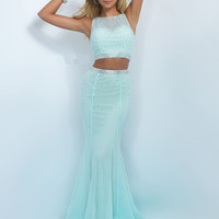 Rhinestone Crop Top Blush Prom Dress 11033
