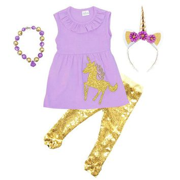 Gold Sparkle Unicorn Purple Top And Pants
