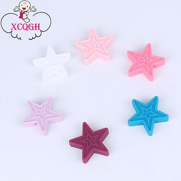 XCQGH 5Pcs Star Chew Silicone Teether Necklace Accessory BPA Free Food Grade Silicone Beads DIY Teething Necklace 30*3MM