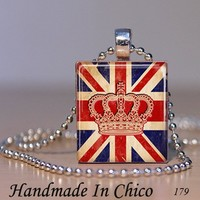 Scrabble Tile Jewelry - Scrabble Tile Pendant - Crown on British Flag 179 - with Decorative MATCHBOX gift box - $7.95 - Handmade Crafts by Handmadeinchico