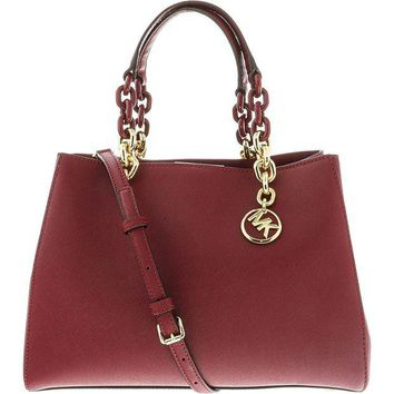 ONETOW Michael Kors Women's Medium Cynthia Saffiano Leather Convertible Satche Top-Handle Bag Satchel