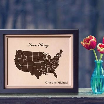 Lik15 Leather Engraved Wedding Third Anniversary Gift Personalized Anniversary Gift Love Story united states map