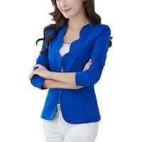 Z oioninos 2018 Women One Button Slim Blazer Casual Business Office Lady Suit Solid Color Jacket Coat Outwear 4 Colors