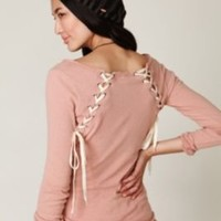 We The Free Lace Up Back Layering Top at Free People Clothing Boutique