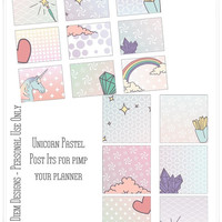 Pastel Unicorn Post Its Printables