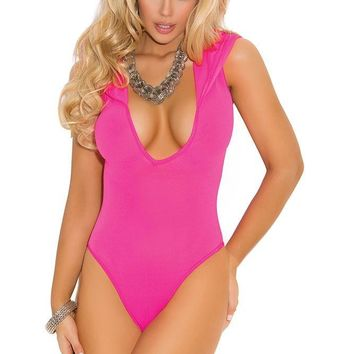 Neon Pink Hooded Bodysuit in OS