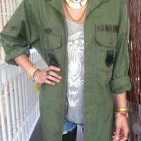 Womens Vintage Army Camo Grunge Hipster Patch Us  Button Up Shirt sz L