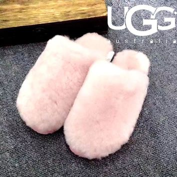 UGG Autumn Winter Women Men Fashion Fluff Yeah Slippers Warm Slippers Shoes Pink