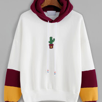 Hooded Drawstring Cactus Embroidered Contrast Sleeve SweatshirtFor Women-romwe