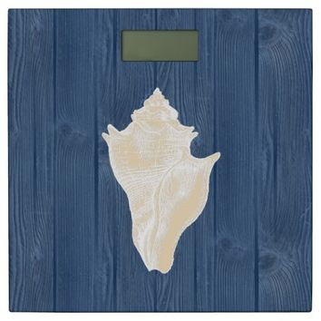 Sea Shell Cream Vintage Blue Wood Scale Bathroom Scale