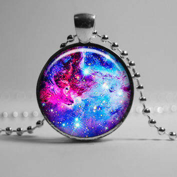 For Fox Nebula Pendant, Universe Pendant, Blue lilac pendant, star sky pendant, Galaxy pendant Jewelry,  constellation of Monoceros pendant