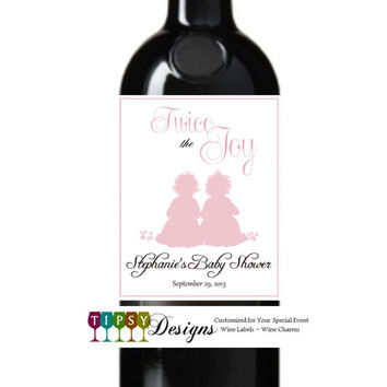 Twins Baby Girl Baby Boy Baby Shower Wine Labels Customized Personalized Set of 4