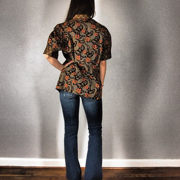 Fall Colors Batik Blouse // Size Large - Brown Black and Maroon Shirt - Ethnic Boho Hippie Floral Indian Bohemian Gypsy Fall Autumn Hippy