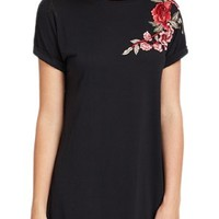 ROMWE Women's Short Sleeve Shirt Embroidered Floral Casual Swing Dress