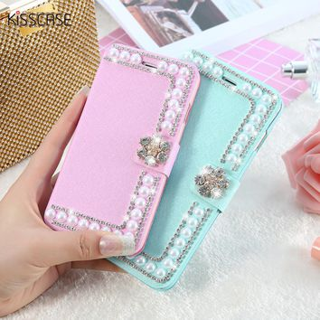 KISSCASE Luxury Pearl+Diamond Cute Leather Case For iPhone 6 6s 7 Plus 5S SE iPhone 7 6 5s Case Card Slot Wallet Phone Bag Cover