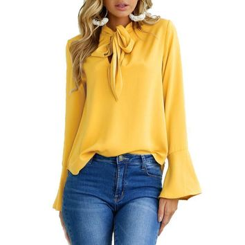 Long Flare Sleeve Chiffon Blouse