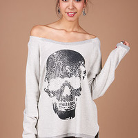 Inverted Skull Pullover | Trendy Tops at Pink Ice