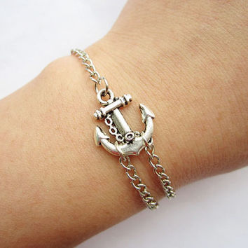 Braceletantique silver little anchor bracelet &alloy by lightenme