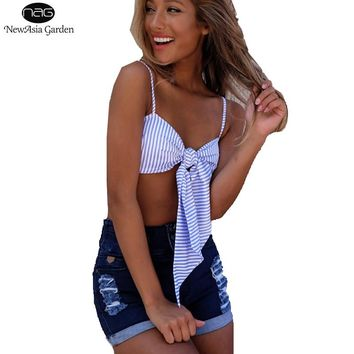 Unadjustable Strappy Blue White Striped Print Women's Tie Front Tank Tops Bow Cropped Top Summer Vest Bandeau Camisole New