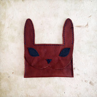 Handmade Leather navy and brown bunny rabbit wallet card case