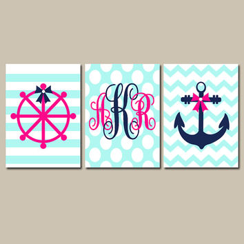 Girl Nautical Monogram Wall Art CANVAS or Prints Bow Anchor Baby Girl Nursery Monogram Initials Nautical Girl Bathroom Wheel Anchor Set of 3