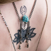 OCEAN FRINGE CHOKER - Pyrite Rough Apatite Tibetan Quartz Crystal Point - Charlie Girl Gems