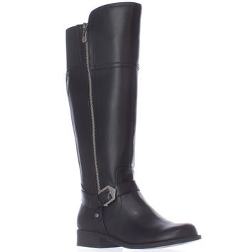 G GUESS Hailee Wide Calf Riding Boots, Black, 7.5 US