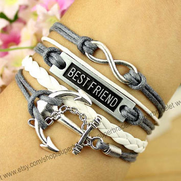 The anchor charm bracelet - infinity bracelet - best friend - white - gray leather cord bracelet charm bracelet - girlfriend and BFF