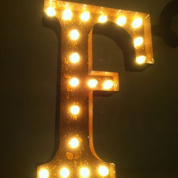 Vintage Marquee Lights Letter F by VintageMarqueeLights on Etsy