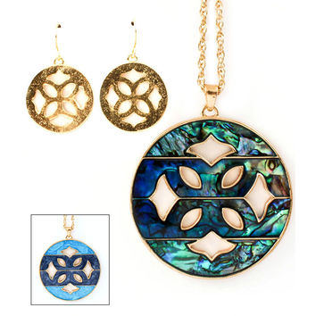 abalone medallion necklace and earring set