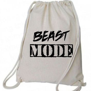 "Drawstring Gym Bag  ""Beast Mode""  Funny Workout Squatting Gift"